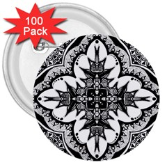 Doodle Cross  3  Button (100 Pack) by KirstenStar