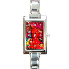 Mardi Gras Rectangular Italian Charm Watch by icarusismartdesigns
