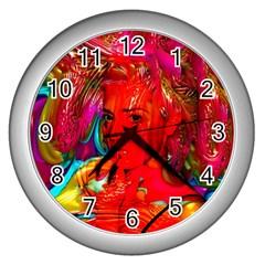 Mardi Gras Wall Clock (silver) by icarusismartdesigns