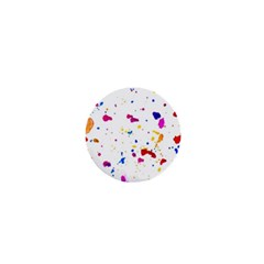 Multicolor Splatter Abstract Print 1  Mini Button by dflcprints