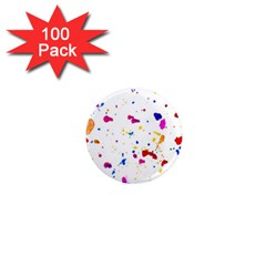 Multicolor Splatter Abstract Print 1  Mini Button Magnet (100 Pack) by dflcprints