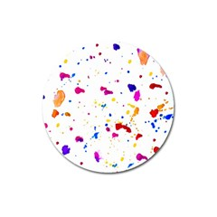Multicolor Splatter Abstract Print Magnet 3  (round) by dflcprints