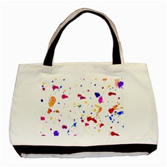 Multicolor Splatter Abstract Print Twin Sided Black Tote Bag by dflcprints