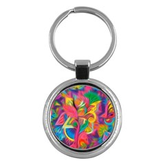 Colorful Floral Abstract Painting Key Chain (round) by KirstenStar