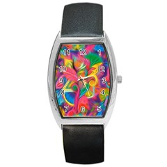 Colorful Floral Abstract Painting Tonneau Leather Watch by KirstenStar