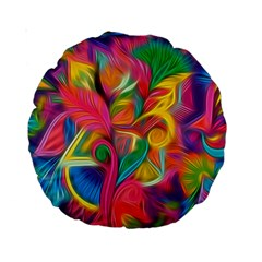 Colorful Floral Abstract Painting Standard 15  Premium Round Cushion  by KirstenStar