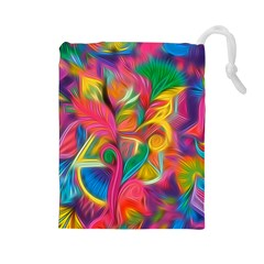 Colorful Floral Abstract Painting Drawstring Pouch (large) by KirstenStar