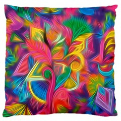 Colorful Floral Abstract Painting Standard Flano Cushion Case (two Sides) by KirstenStar