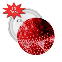 Red Fractal Lace 2 25  Button (10 Pack) by KirstenStar