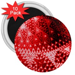 Red Fractal Lace 3  Button Magnet (10 Pack) by KirstenStar