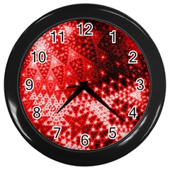 Red Fractal Lace Wall Clock (black) by KirstenStar