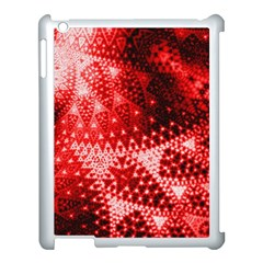 Red Fractal Lace Apple Ipad 3/4 Case (white) by KirstenStar