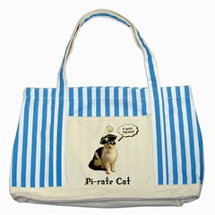 Pi Rate Cat Blue Striped Tote Bag by brainchilddesigns