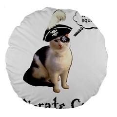 Pi Rate Cat Large 18  Premium Round Cushion  by brainchilddesigns