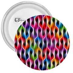 Rainbow Psychedelic Waves 3  Button by KirstenStar