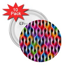 Rainbow Psychedelic Waves 2 25  Button (10 Pack) by KirstenStar