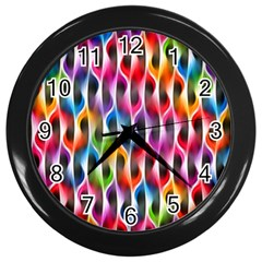 Rainbow Psychedelic Waves Wall Clock (Black) by KirstenStar