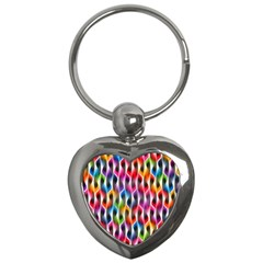 Rainbow Psychedelic Waves Key Chain (heart) by KirstenStar