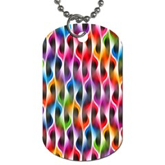 Rainbow Psychedelic Waves Dog Tag (one Sided) by KirstenStar