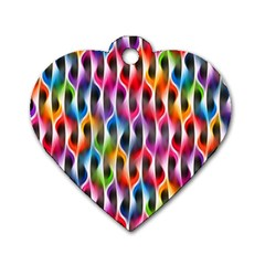 Rainbow Psychedelic Waves Dog Tag Heart (one Sided)  by KirstenStar