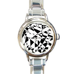 Shattered Life In Black & White Round Italian Charm Watch by StuffOrSomething