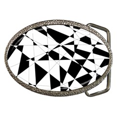 Shattered Life In Black & White Belt Buckle (oval) by StuffOrSomething