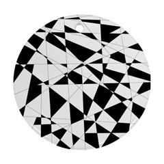 Shattered Life In Black & White Round Ornament (two Sides) by StuffOrSomething