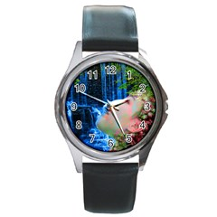 Fountain Of Youth Round Leather Watch (silver Rim) by icarusismartdesigns