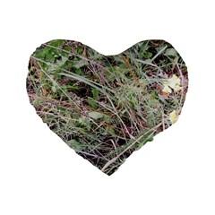 Linaria Grass Pattern Standard 16  Premium Flano Heart Shape Cushion  by ansteybeta