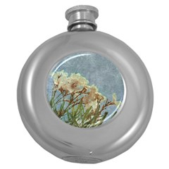 Floral Grunge Vintage Photo Hip Flask (Round) by dflcprints