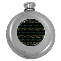 Modern Lace Stripe Pattern Hip Flask (round) by dflcprints