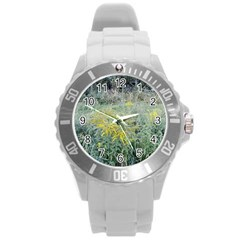Yellow Flowers, Green Grass Nature Pattern Plastic Sport Watch (large) by ansteybeta
