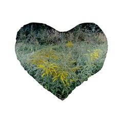 Yellow Flowers, Green Grass Nature Pattern Standard 16  Premium Heart Shape Cushion  by ansteybeta