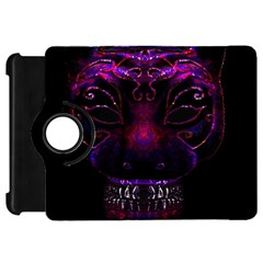 Creepy Cat Mask Portrait Print Kindle Fire Hd Flip 360 Case by dflcprints