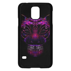 Creepy Cat Mask Portrait Print Samsung Galaxy S5 Case (black) by dflcprints