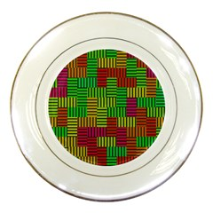 Colorful Stripes And Squares Porcelain Plate by LalyLauraFLM