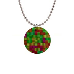 Colorful Stripes And Squares 1  Button Necklace by LalyLauraFLM
