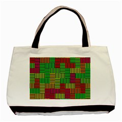 Colorful stripes and squares Basic Tote Bag by LalyLauraFLM