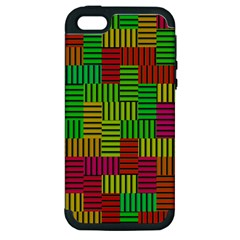 Colorful Stripes And Squares Apple Iphone 5 Hardshell Case (pc+silicone) by LalyLauraFLM