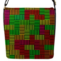 Colorful stripes and squares Flap Closure Messenger Bag (S) by LalyLauraFLM