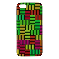 Colorful Stripes And Squares Iphone 5s Premium Hardshell Case by LalyLauraFLM