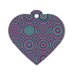 Concentric Circles Pattern Dog Tag Heart (one Side) by LalyLauraFLM