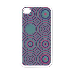 Concentric Circles Pattern Apple Iphone 4 Case (white) by LalyLauraFLM