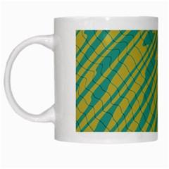 Blue Yellow Waves White Mug by LalyLauraFLM