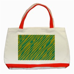 Blue Yellow Waves Classic Tote Bag (red) by LalyLauraFLM