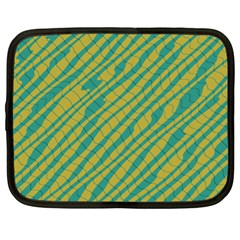 Blue yellow waves Netbook Case (XL) by LalyLauraFLM