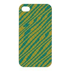 Blue Yellow Waves Apple Iphone 4/4s Premium Hardshell Case by LalyLauraFLM