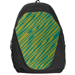 Blue Yellow Waves Backpack Bag by LalyLauraFLM