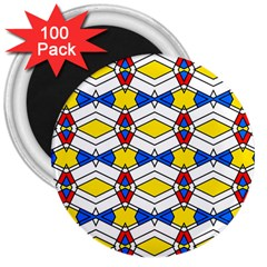 Colorful Rhombus Chains 3  Magnet (100 Pack) by LalyLauraFLM