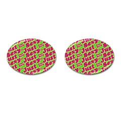 Just Sexy Quote Typographic Pattern Cufflinks (oval) by dflcprints